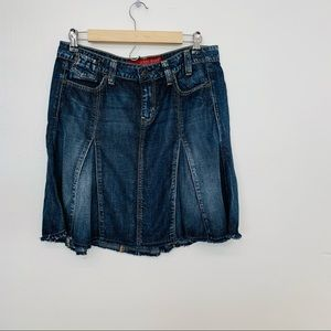 Guess Denim Skirt 28 Blue Pockets Raw  Hem Short